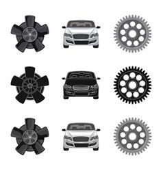 auto and part icon set of vector image