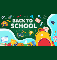 back to school student backpack with teaching vector image