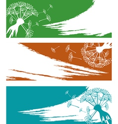 Banner set with dandelion vector image