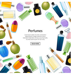 Banner with perfume bottles background vector