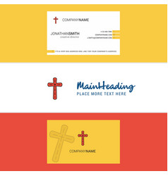 beautiful cross logo and business card vertical vector image