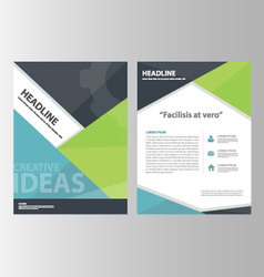 Blue green annual report brochure flyer leaflet vector
