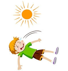 Boy feeling ill from heat stroke vector