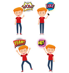 Boy with four different expression words vector