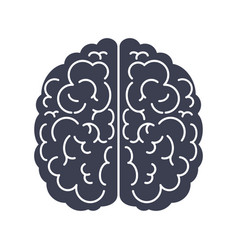 brain silhouette top view black icon mind vector image