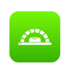 Bread oven icon green vector