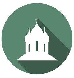 Building church flat icon with long shadow vector