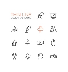 Business Training - Thin Single Line Icons Set vector image