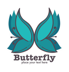 butterfly graphic abstract logo design with text vector image