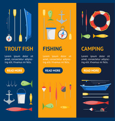 Cartoon fishing banner vecrtical set vector