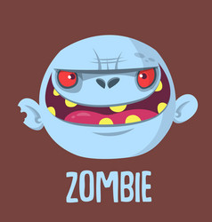 cartoon funny gray zombie head vector image