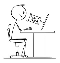Cartoon man or businessman working on computer vector