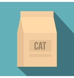 Cat food bag icon flat style vector