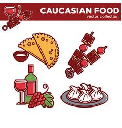 Caucasian food collection delicious vector
