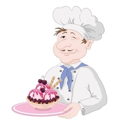 Chef with Ice Cream and Cherry Berries vector