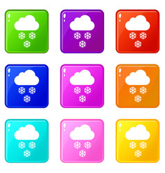 cloud and snowflakes icons 9 set vector image