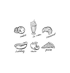 collection of fast food dishes cookies ice cream vector image