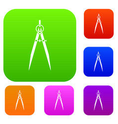 Compass for drawing and delineation set color vector