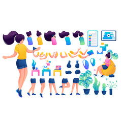 constructor for creating a young teen girl create vector image