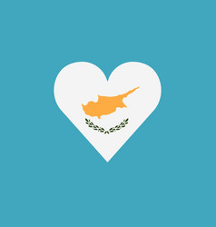 cyprus flag icon in a heart shape in flat design vector image