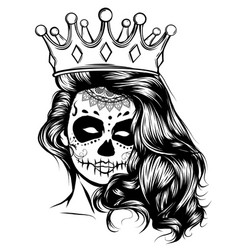 day dead girl black and white vector image