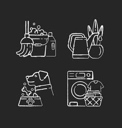 Domestic chores chalk white icons set on black vector