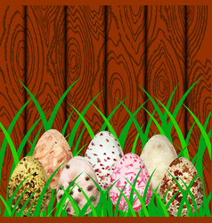 Easter eggs on the background of wood and grass vector