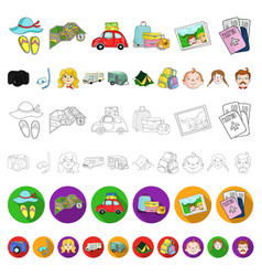 family holiday cartoon icons in set collection for vector image