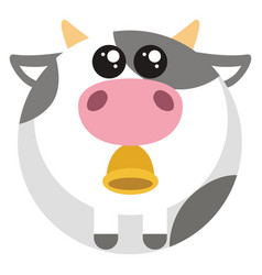 Fat cow with bell on white background vector
