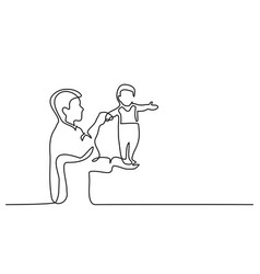 father holding happy son up in air vector image