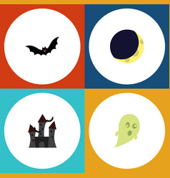 flat icon halloween set of fortress crescent vector image