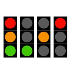 Flat traffic light icons traffic lamps semaphore vector