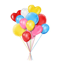 flying realistic glossy balloons for birthday vector image