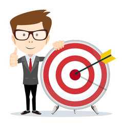 Funny cartoon business man holding a dart board vector