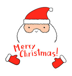 Funny santa claus with christmas lettering in vector