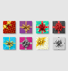 gift boxes with ribbon bow gifts decoration bows vector image