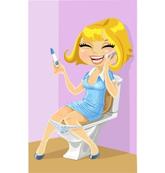 Girl in a toilet vector