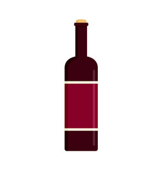 glass bottle of red wine icon flat style vector image