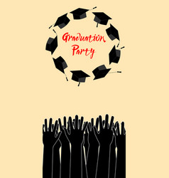 graduate hands throwing up graduation hats vector image
