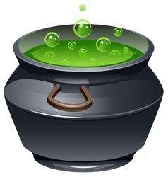 Green magic potion in cauldron Boiling pot vector