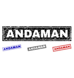 grunge andaman scratched rectangle watermarks vector image