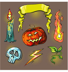 halloween stickershalftone lights vector image