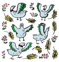 Hand darwn birds set doodle livestock pets with vector