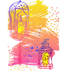 Hand draw ramadan kareem letteringlatern and lamp vector