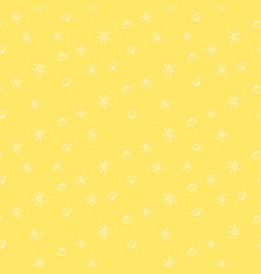 hand drawn sun cloud yellow pattern image vector image