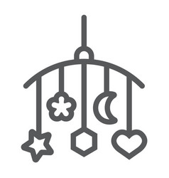 hanging toys line icon child and bed vector image