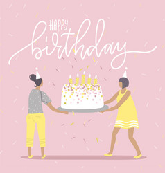 happy birthday greeting catd birthday party big vector image