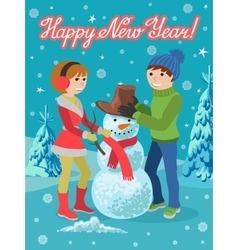 Happy couple of young people sculpts snowman vector image
