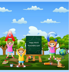 happy world teacher day on sign with kids holding vector image
