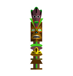Indigenous carved wooden totem pole isolated vector